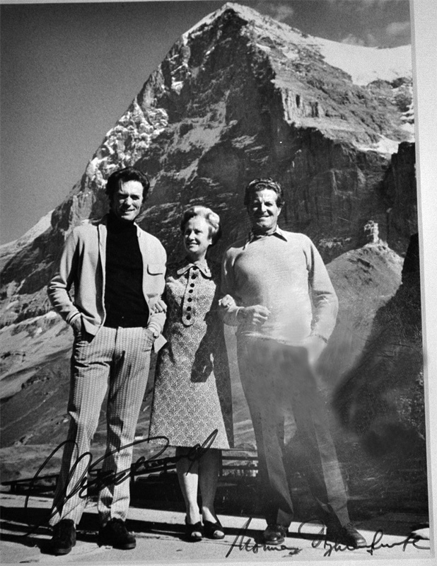 Clint Eastwood in front of Eiger north face with Hotel Bellevue owners