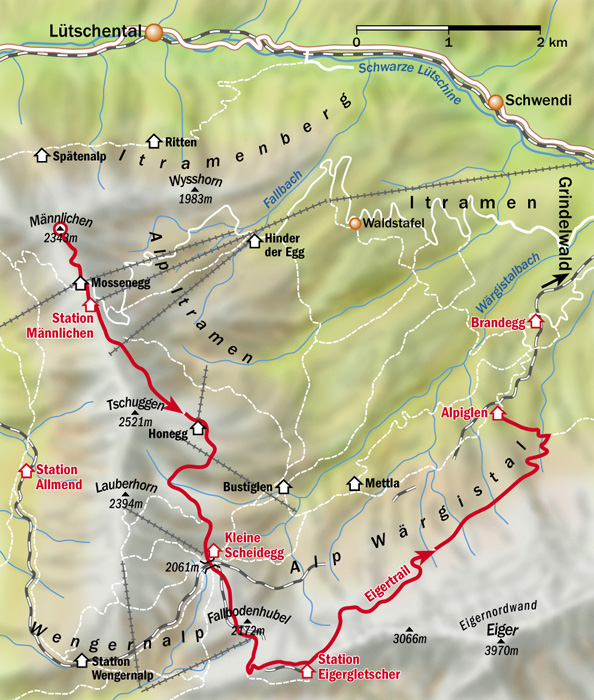 Eiger trail map