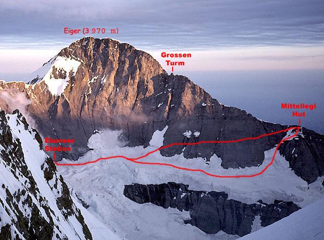 Mitellegi Ridge Route & Chumacraju - Road Book - Switzerland - Eiger Mittellegi ridge route